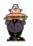 Uomo con il panino Fotografie Stock