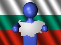 Uomo con il programma della Bulgaria sulla bandierina Immagini Stock
