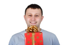 Uomo con il regalo fotografie stock libere da diritti