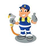 Uomo con il riscaldamento della pompa di gas dell'olio Immagine Stock