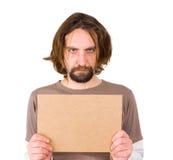 Uomo con il segno in bianco Immagini Stock Libere da Diritti