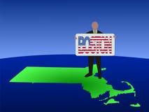Uomo con il segno del testo di Boston Immagini Stock Libere da Diritti