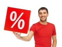 Uomo con il segno di percentuali Fotografie Stock Libere da Diritti