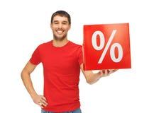Uomo con il segno di percentuali Fotografia Stock Libera da Diritti