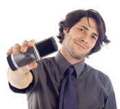 Uomo con il telefono mobile Immagini Stock