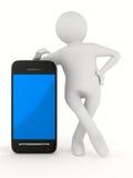 Uomo con il telefono su bianco. 3D isolato Immagine Stock Libera da Diritti