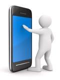 Uomo con il telefono su bianco. 3D isolato Fotografia Stock