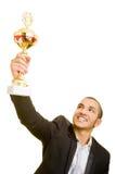 Uomo con il trofeo Fotografie Stock Libere da Diritti