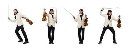 Uomo con il violino che gioca sul bianco immagini stock