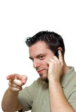 Uomo con indicare del telefono Fotografia Stock Libera da Diritti