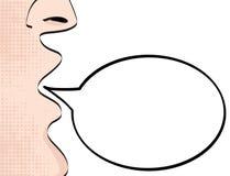 Uomo con l'annuncio di grido della bocca aperta sulla lampadina di discorso vuota illustrazione vettoriale