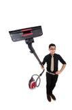 Uomo con l'aspirapolvere isolato Fotografie Stock Libere da Diritti