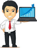 Uomo con l'aumento del grafico o del grafico sul computer portatile Immagini Stock