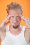 Uomo con l'emicrania Fotografia Stock