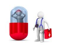 Uomo con l'emicrania in capsula su fondo bianco 3D isolato IL illustrazione di stock