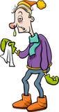 Uomo con l'illustrazione del fumetto di influenza illustrazione di stock