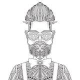 Uomo con l'illustrazione di vettore del tatuaggio e della barba Royalty Illustrazione gratis