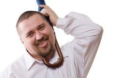 Uomo con l'ombrello intorno al collo Fotografia Stock Libera da Diritti