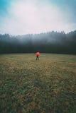 Uomo con l'ombrello rosso nel campo fotografie stock libere da diritti