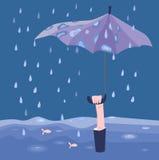 Uomo con l'ombrello sotto la pioggia Fotografia Stock Libera da Diritti