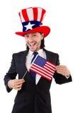 Uomo con la bandiera americana Fotografia Stock Libera da Diritti