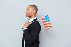 uomo con la bandiera degli Stati Uniti Fotografie Stock Libere da Diritti