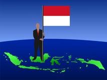 Uomo con la bandierina indonesiana Fotografia Stock Libera da Diritti