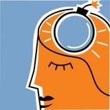 Uomo con la bomba a orologeria sulla testa Immagini Stock
