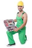 Uomo con la borsa degli arnesi Immagine Stock