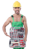 Uomo con la borsa degli arnesi Fotografie Stock Libere da Diritti