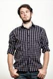 Uomo con la camicia Checkered fotografia stock libera da diritti