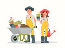 Uomo con la carriola di terra, una donna che tiene un vaso e un annaffiatoio di fiore illustrazione vettoriale