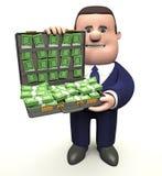 Uomo con la cartella di soldi Fotografia Stock Libera da Diritti