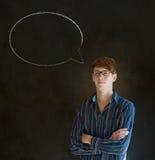 Uomo con la conversazione di conversazione del fumetto del gesso Fotografie Stock Libere da Diritti