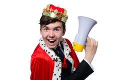 Uomo con la corona ed il megafono Fotografie Stock Libere da Diritti