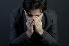Uomo con la depressione Fotografia Stock