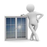Uomo con la finestra su priorità bassa bianca Immagine Stock
