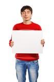 Uomo con la grande pubblicità Immagine Stock Libera da Diritti
