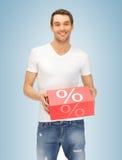 Uomo con la grande scatola delle percentuali Fotografia Stock Libera da Diritti