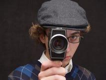Uomo con la macchina fotografica Fotografie Stock