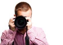 Uomo con la macchina fotografica Fotografia Stock Libera da Diritti