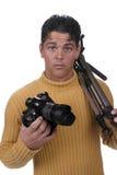 Uomo con la macchina fotografica Fotografie Stock Libere da Diritti