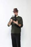 Uomo con la macchina fotografica di HD SLR Immagini Stock