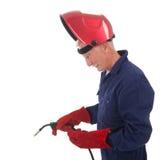 Uomo con la maschera della saldatura Fotografia Stock
