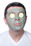 Uomo con la mascherina e la fetta di bellezza Fotografia Stock Libera da Diritti