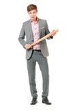 Uomo con la mazza da baseball Fotografie Stock Libere da Diritti