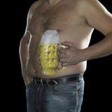 Uomo con la pancia di birra Fotografia Stock Libera da Diritti