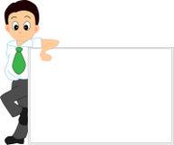 Uomo con la scheda bianca Immagine Stock