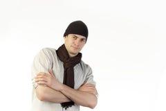 Uomo con la sciarpa ed il cappello Fotografia Stock Libera da Diritti
