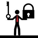 Uomo con la serratura e la chiave Immagine Stock Libera da Diritti
